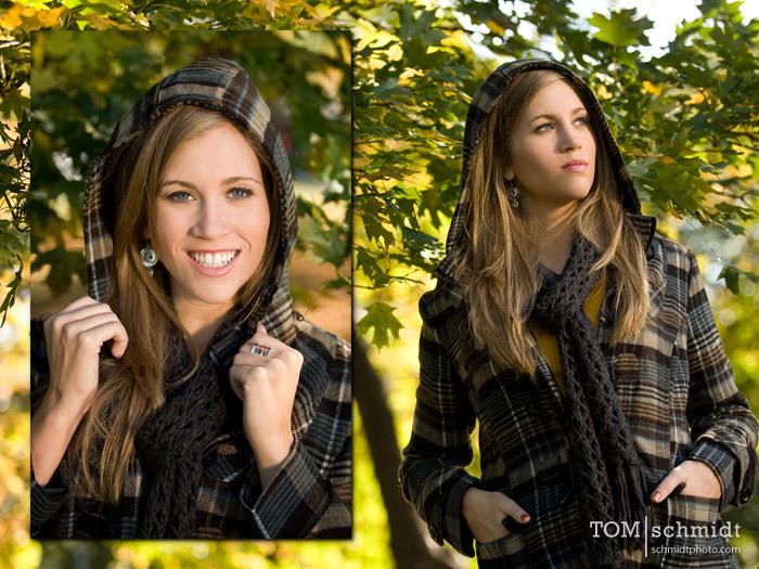 senior picture, kansas city, tom schmidt, fall leaves